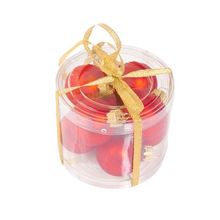 Red Christmas balls in the box  isolated on white background
