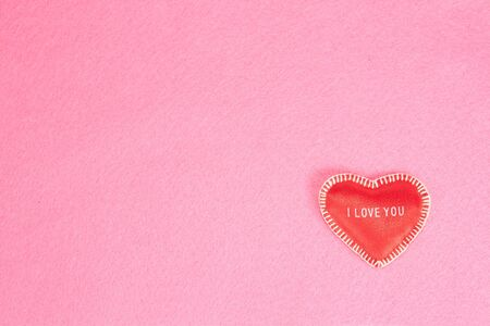 text pink:  background with heart on pink with copy space for your text Stock Photo