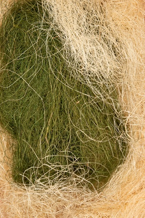sisal: Green and yellow tangled sisal cords background
