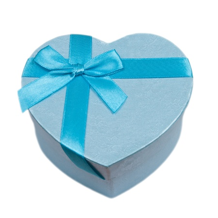 blue heart gift box with a bow isolated on white background Stock Photo