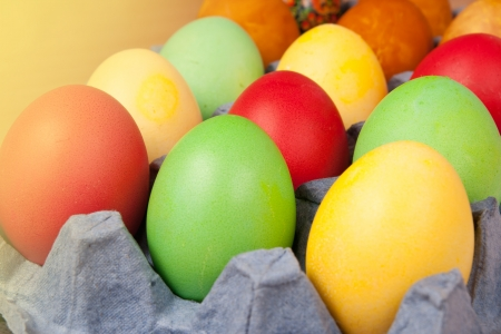 Bright background of colorful eggs close up photo