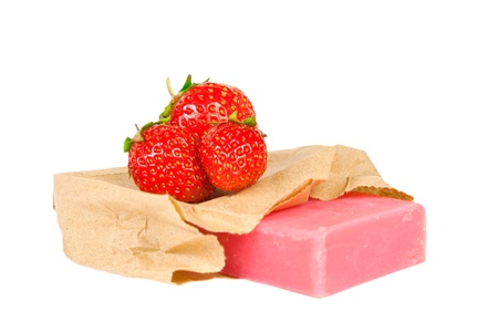 handmade strawberries soap isolated on white background