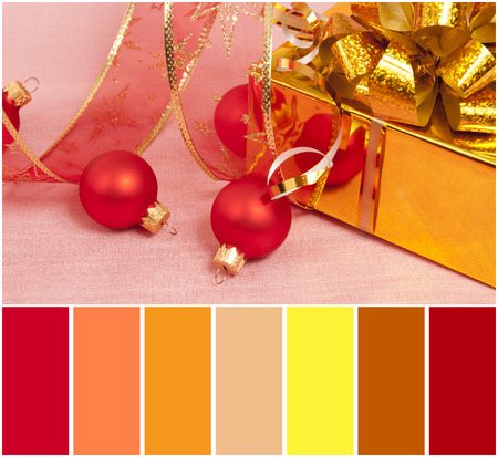 complimentary: Christmas Decoration on a red  background and colour palette with complimentary swatches