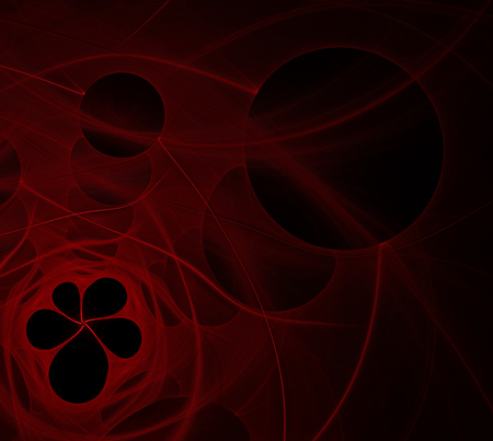 abstract fractal background: red flower hole on a black Stock Photo