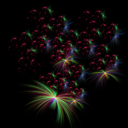 abstract bright colorful fractal fireworks  on a black background for art projects