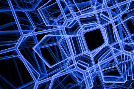 Abstract blue and black fractal background for design. Detailed computer graphics.