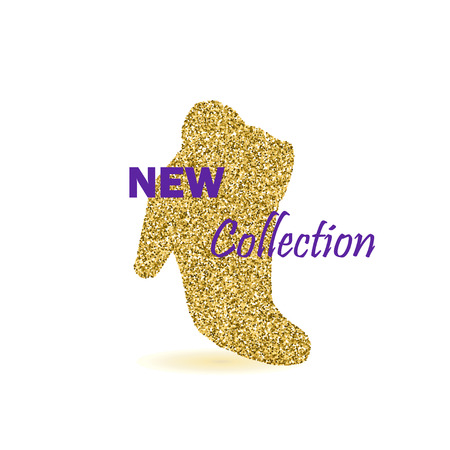 Gold Glitter Vector New Collection Banner with Contour of a Fashion Woman Boot