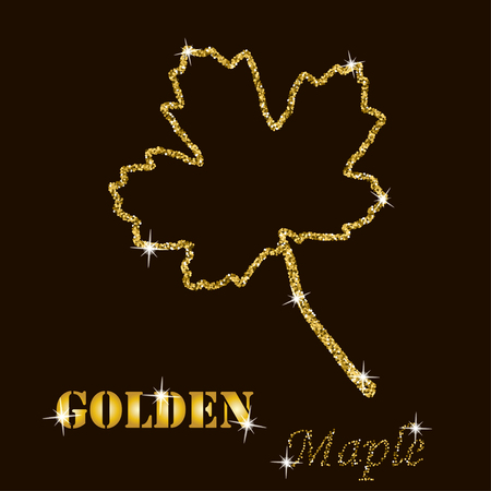 gold glitter vector contour of a maple leaf  on a dark background