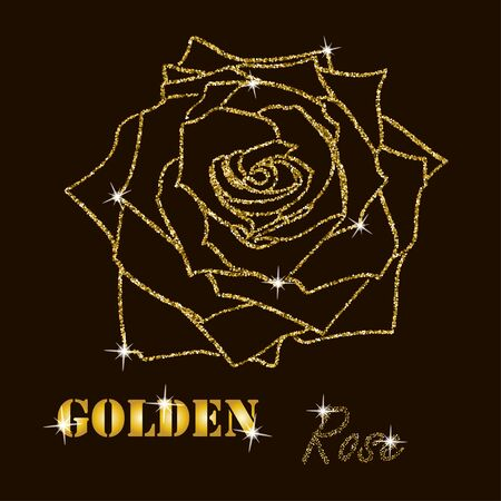 glister: gold glitter vector contour of a rose  on  dark background Illustration