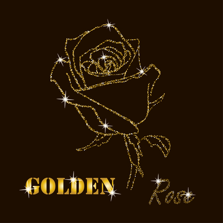gold glitter vector contour of a rose  on  dark background Illustration