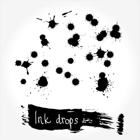 ink drops: Black Ink drops vector set for your design Illustration