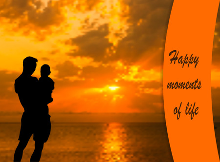 Dad and Son Silhouette Vector. Happy moments of life vector. Happy Fathers Day Card. Father and Son at Sunset Background Illustration