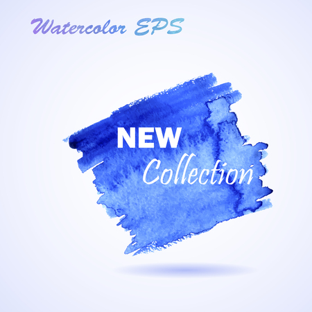 Watercolor Blue Stroke Hand drawn. Vector New Collection Banner