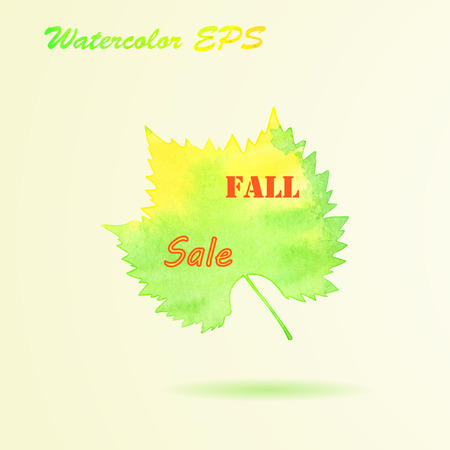 Watercolor Autumn Grape Leaf. Vector Fall Sale Banner