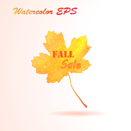 Watercolor Autumn Maple Leaf. Vector Fall Sale Banner Illustration