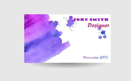 Lilac Watercolor Abstract Business Background - Vector Design for Business Cards
