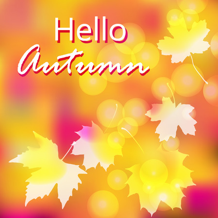 Hello Autumn - Vector Bright Colorful Background with Autumn Leaves. Autumn Advertising  Illustration . Illustration