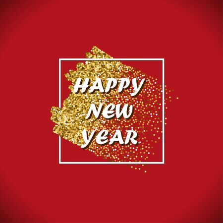 Happy New Year Gold Vector Design with Glitter Stroke Brush on a Red Background. Golden Glitter New Year Poster. Background for Flyer,  Banner, Web, Header. Illustration