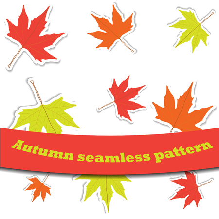 Vector seamless pattern with autumn leaves Illustration