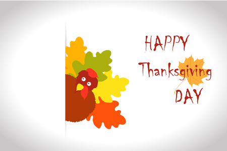 Vector Colorful Turkey Bird for Happy Thanksgiving Day Celebration, Childrens Creativity Illustration with Autumn Leaves. can be use as flyer, poster or banner.