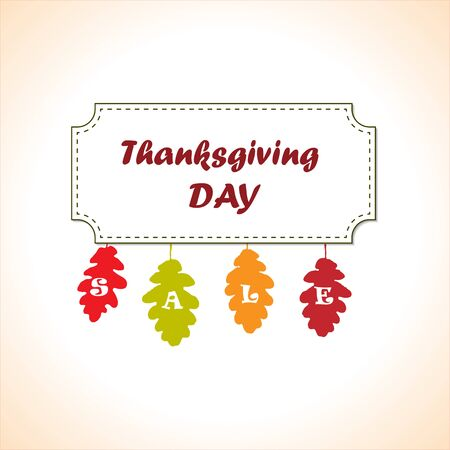 Happy Thanksgiving Day Vector Sale Banner Design with Colorful Oak Autumn Leaves. Greeting card template. Happy Thanksgiving poster. Badge vector illustration