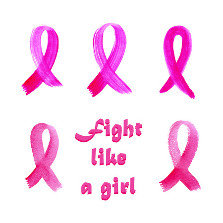 cancer ribbons: Set of watercolor pink ribbons - breast cancer awareness symbol, isolated on white. Fight like a girl text.