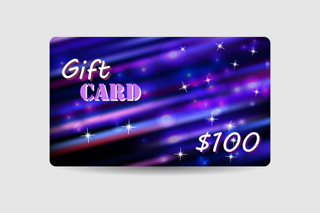 defocus: Gift card, coupon, discount card with violet defocus bokeh background. Holiday design for invitation, ticket.