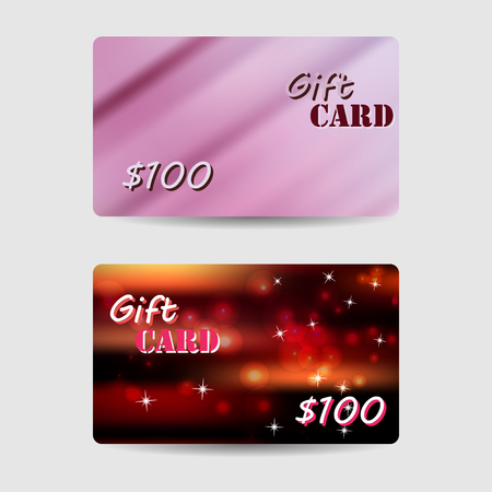 violet red: Set of gift cards, coupon, discount cards with violet blur, red and black defocus bokeh background.