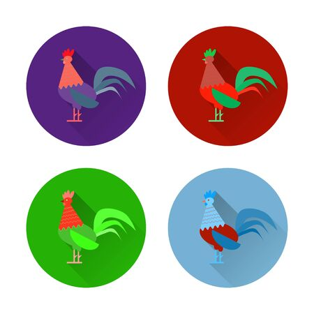chineese: Set of colorful rooster and cock icons. Flat design style vector illustrations of symbol 2017 chineese new year