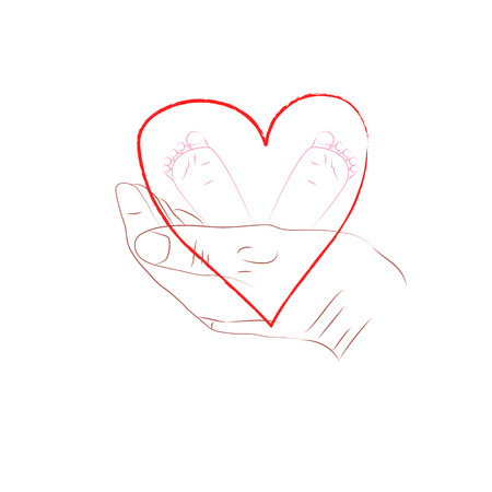 Hand drawn doodle vector illustration of baby foot in mother hands with heart symbol