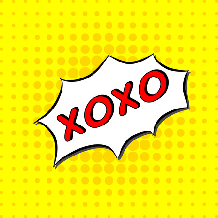 xoxo: Xoxo - Comic Text, Pop Art style. Free handdrawn typography lettering with yellow dotted halftone background. Vector love hugs and kisses text message.