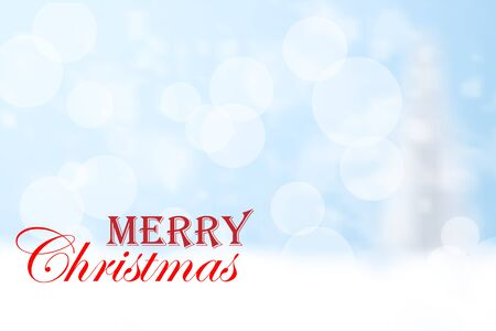 Merry Christmas red typography and blue bokeh background. Christmas holidays wish greeting card design. Vector illustration. Illustration