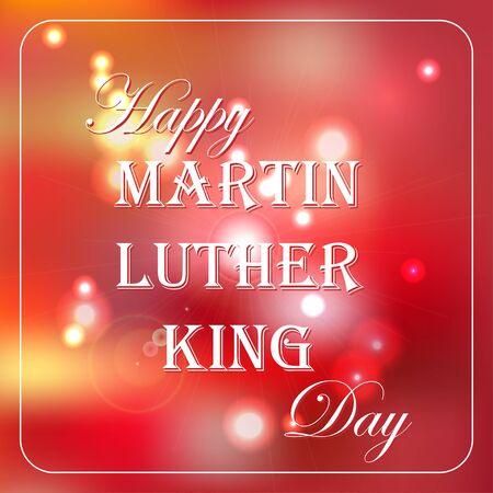 Glücklicher Martin Luther King Day freie Typografiegrußkarte mit rotem bokeh Hintergrund. Vektorgrafik