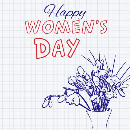 snowdrop: International Happy Womens Day hand drawn doodle sketch snowdrops bouquet on a sheet of cell paper. Illustration