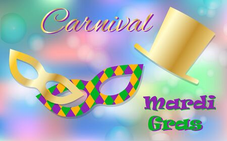 stovepipe hat: Mardi Gras celebration concept with golden mask and hat and lettering typography on a colorful background.