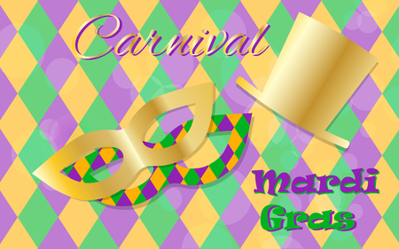 stovepipe hat: Mardi Gras celebration concept with golden mask and hat and lettering typography on a colorful background. Vector illustration for cards, banners, print