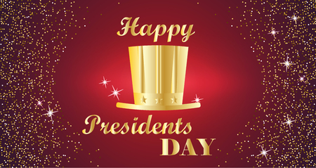 tall hat: Happy Presidents Day Typography with tall hat and red with gold background. Vector illustration for cards, banners, print Illustration