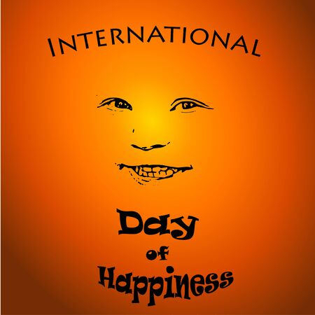 International Day of Happiness - concept illustration with smiley child on sunset background. For card,  badge, print, poster Stock Photo