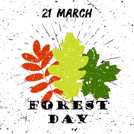 International day of forest 21 March Black Lettering Typography with oak, marple, rowan tree leaves burst on a Old Textured Background Illustration