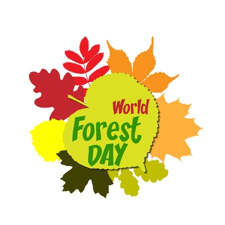 International day of forest Lettering Typography with different oak, marple, rowan tree leaves isolated on a white background. Vector illustration for cards, banners, print Illustration
