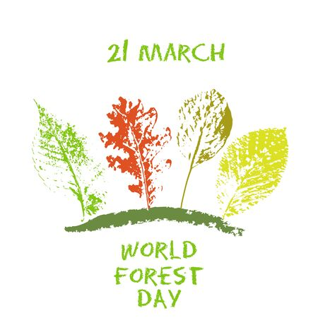 World forest day 21 March green chalk lettering typography with oak, marple, linden tree leaves colorful stamp texture. Vector illustration for cards, banners, print Illustration