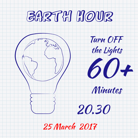 Earth hour 25 March 2017 hand drawn doodle sketch on a sheet of cell paper. Vector illustration for card, banner, poster