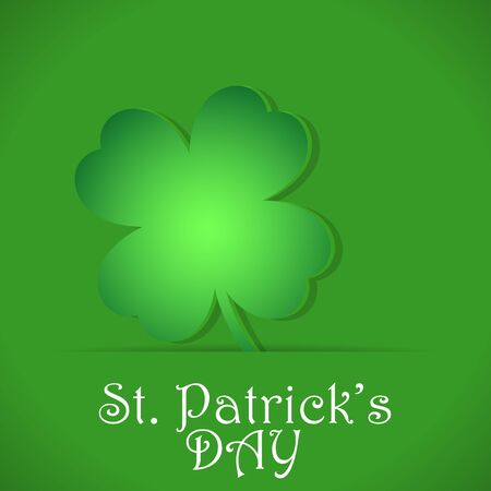 Paper cutout clover on a green card for St. Patricks Day. Vector illustration for greeting, banner, logo, badge, poster  イラスト・ベクター素材