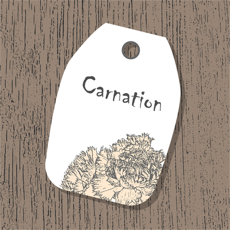 Vector tag template with carnation flower in pastel colors on the wooden background. Vintage eco design for lables, greeting cards, invitations, gifts decoration, sales design, scrapbooking