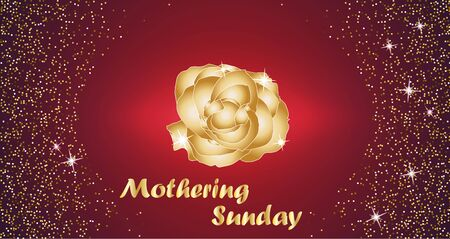 mothering: Mothering Sunday celebration concept with Golden Rose and Lettering Typography on a Red Background. Vector illustration for cards, banners, print. Illustration