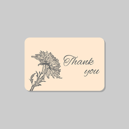 Thank you card with chrysanthemum flower. Vintage grunge marriage design template, floral artwork. Vector illustration of summer concept for invitation, card, ticket, label, banner.