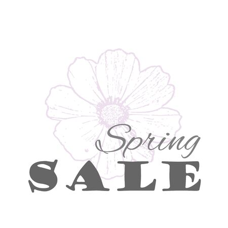 Vector Spring sale template with cosmos flower in pastel colors isolated on a white background. Vintage eco design for label, greeting card, invitation, gift decoration, sale design, scrapbooking