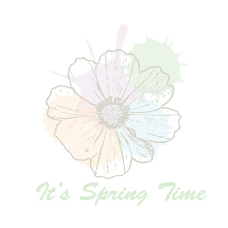 Its spring time hand drawn lettering typography with cosmos flower and watercolor pastel blots. Vector illustration of concept for invitation, card, ticket, label, banner