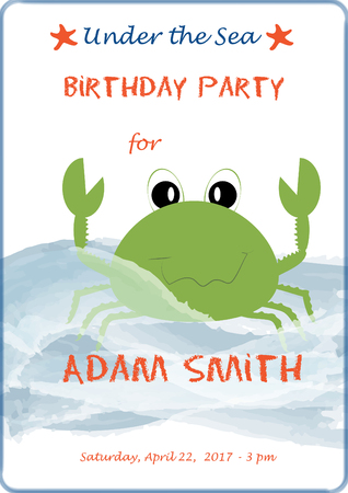 green crab: Cute cartoon baby birthday invitation card with sea waves and greenery crab. Vector illustration for prints, flyers, banners. Stock Photo