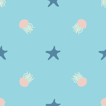 Underwater design of seamless pattern for wrapping, textile, print. Seastar and jellyfish colorful vector illustration elements